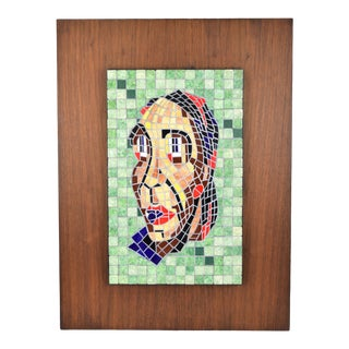 Vintage Mid-Century Abstract Mosaic Portrait For Sale