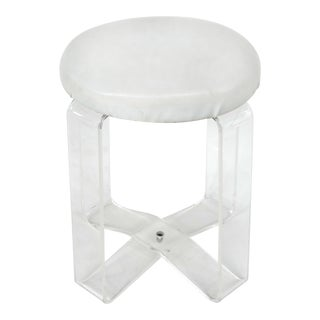 Mid-Century Moden Lucite Vanity Stool W/ Upholstered Seat For Sale