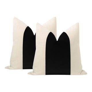 """22"""" Ebony Velvet Panel + Linen Pillows - a Pair For Sale"""