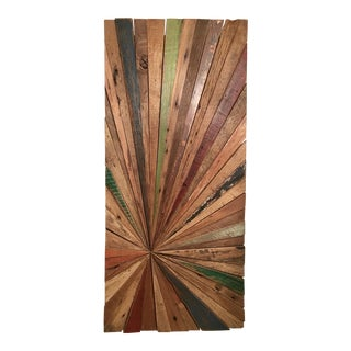 Solid Wood Sunburst Wall Sculpture Installation For Sale
