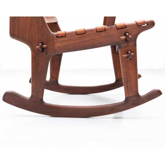 Rosewood and Leather Rocker by Angel Pazmino, Ecuador, 1960s For Sale In Santa Fe - Image 6 of 9