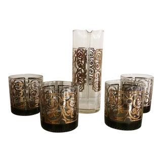 Mid-Century Old Fashioned Glasses & Pitcher - Set of 5 For Sale