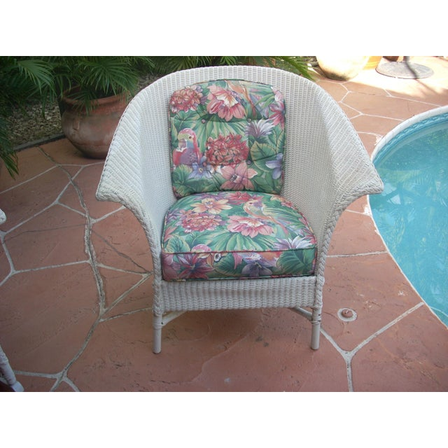 Contemporary Cottage Wicker Chair & Rocker - a Pair - Image 3 of 8