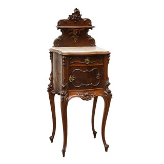 Late 19th Century Louis XV Style Mahogany and Marble Bedside Cabinet For Sale