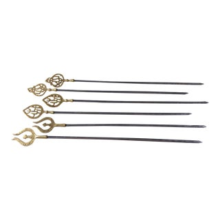 Mid 20th Century Brass Topped Kebob Skewers - Set of 6 For Sale