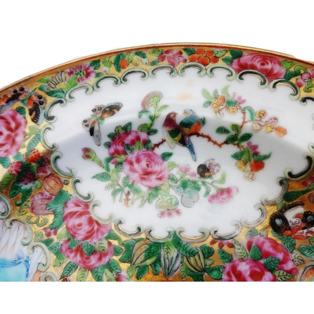 19th C Chinese Export Porcelain Rose Medallion Soup Plate For Sale - Image 5 of 11