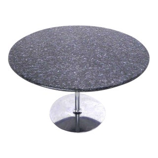 Mid Century Modern Round Iridescent Granite Tulip Base Dining or Center Table