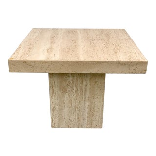 1970s Vintage Italian Travertine Side Table For Sale