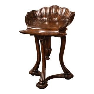 20th Century French Hand Carved Walnut Piano Grotto Stool With Shell Motif For Sale