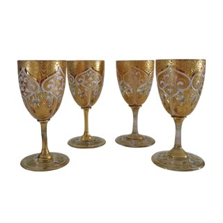Late 19th Century Antique Bohemian Moser Small Wine Goblets- Set of 4 For Sale