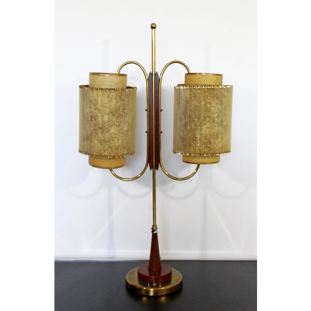 Art Deco Wood & Brass Sculptural Table LampDual Headed For Sale - Image 9 of 9