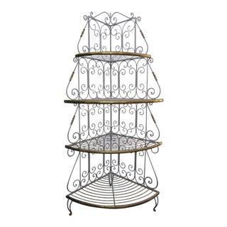 Vintage French Country White Wrought Iron & Brass Corner Bakers Rack For Sale