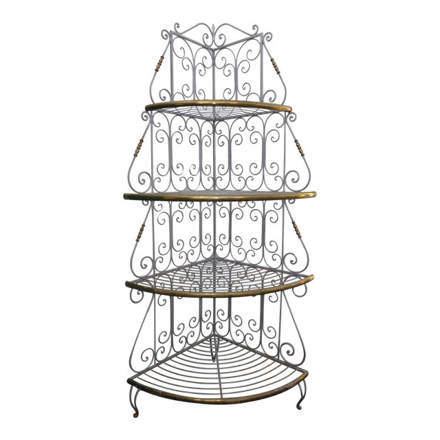 Vintage French Country White Wrought Iron & Brass Corner