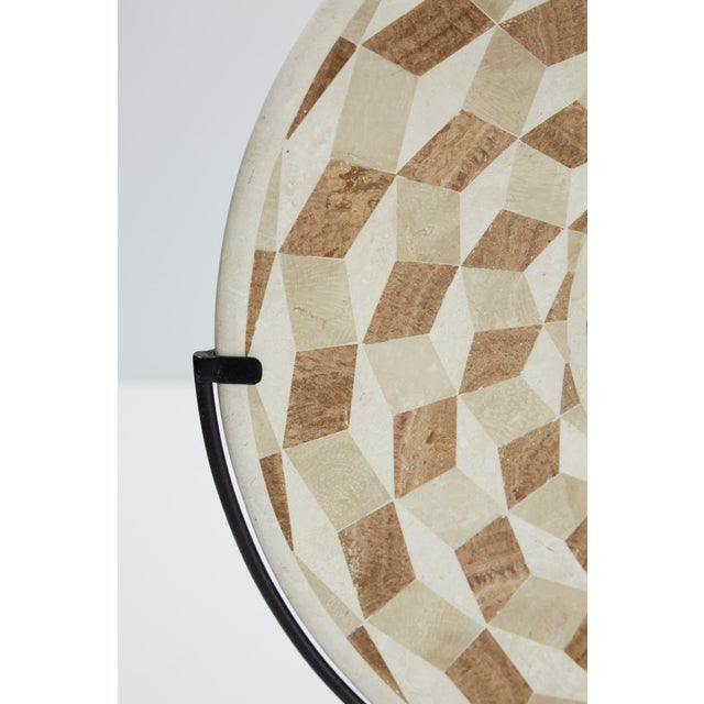 """1990s Modern Tessellated Woodstone """"Illusion"""" Plate on Iron Stand For Sale - Image 9 of 12"""