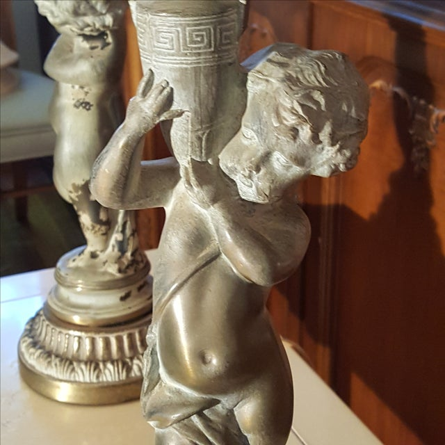 19th C French Patinated Bronze Cherub Lamps - Pair - Image 3 of 7