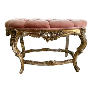 Late 18th Century Louis XV Rococo-Style Tufted Bench For Sale