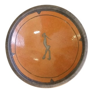 1950s Modernist Incised Nude Stoneware Bowl