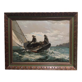 Mid Century Paint by Number Painting of Fishermen After Winslow Homer For Sale