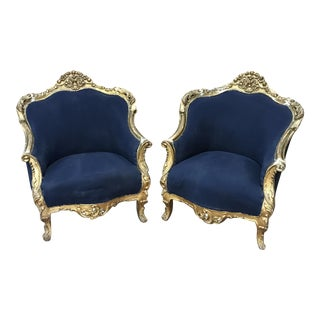 French Rococo Bergere Chairs-A Pair