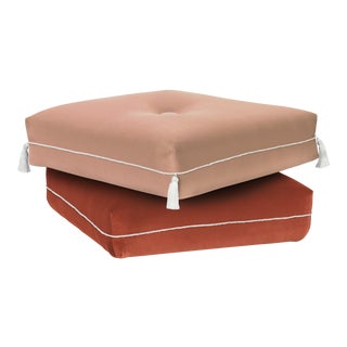 Two-Tone Turkish Ottoman, Pink & Coral For Sale