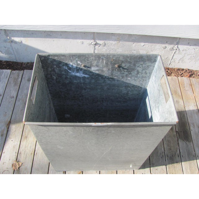 Industrial Style Galvanized Steel Waste Basket For Sale - Image 4 of 13