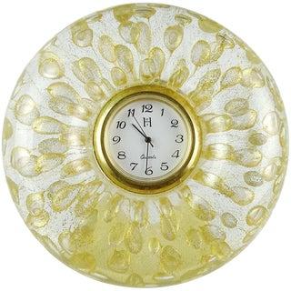 Vintage Murano Gold Flecks Bubbles Italian Art Glass Round Desk Clock For Sale