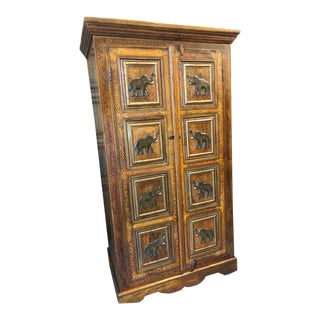1920s Rustic Elephant Motif Armoire For Sale
