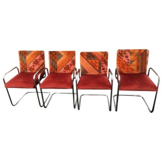 Tubular Steel Cantilever Armchairs - Set of 4 For Sale