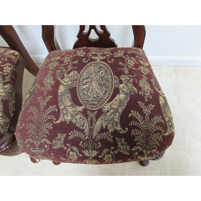 Thomasville Solid Mahogany Chippendale Arm Chairs - A Pair For Sale In Philadelphia - Image 6 of 10