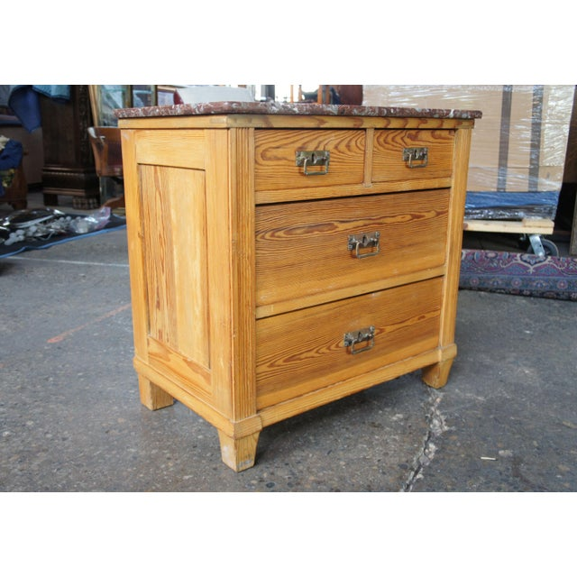 1900 - 1909 Victorian Antique Pine Marble Top Storage Cabinet For Sale - Image 5 of 13