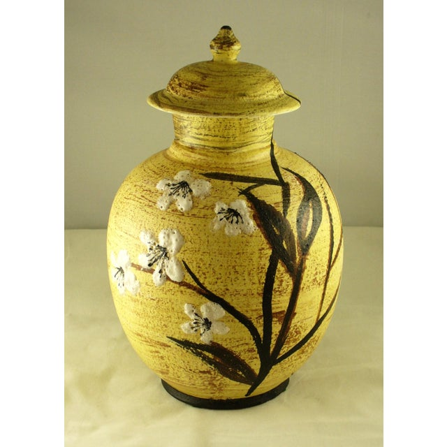 Mid Century Floral Design Vase or Urn. Hand Painted Porcelain, beautifully highlighted with heavy glazed raised white...
