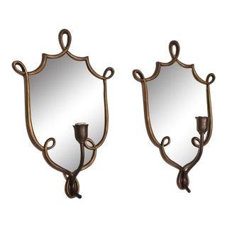 Mid-Century Modern Italian Antique Mirror & Brass Wall Sconces After Gio Ponti - a Pair For Sale