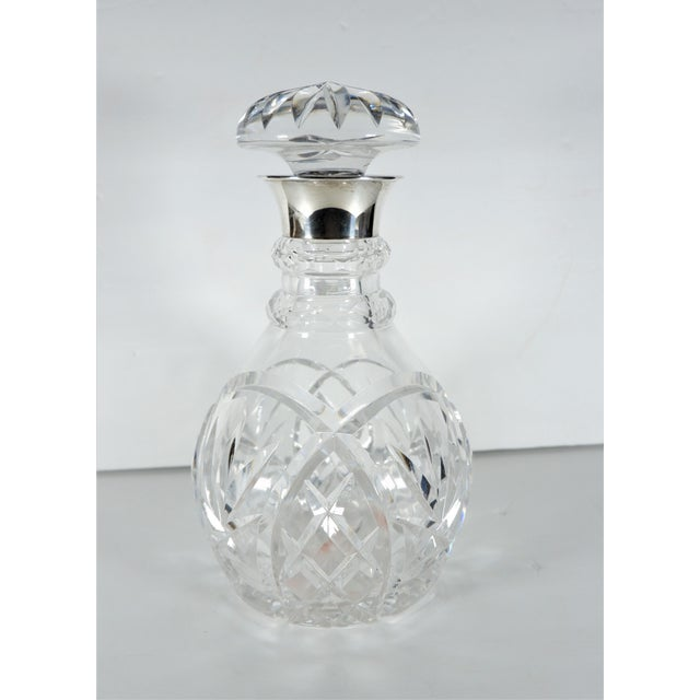 Metal John Grinsell & Sons Cut Crystal Decanter With Sterling Silver Top Rim For Sale - Image 7 of 7
