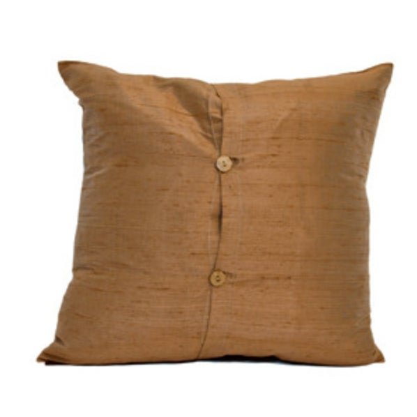 Chocolate Raw Silk Square Pillow Covers - Pair - Image 3 of 3