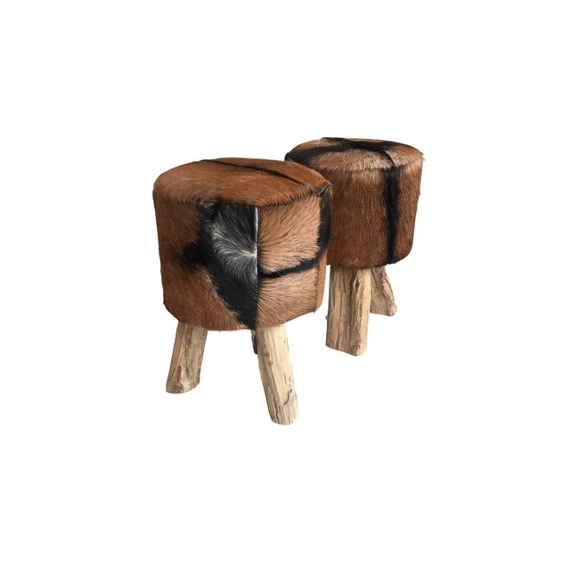 African 1970s Primitive Nubuck Hide Stools - a Pair For Sale - Image 3 of 7