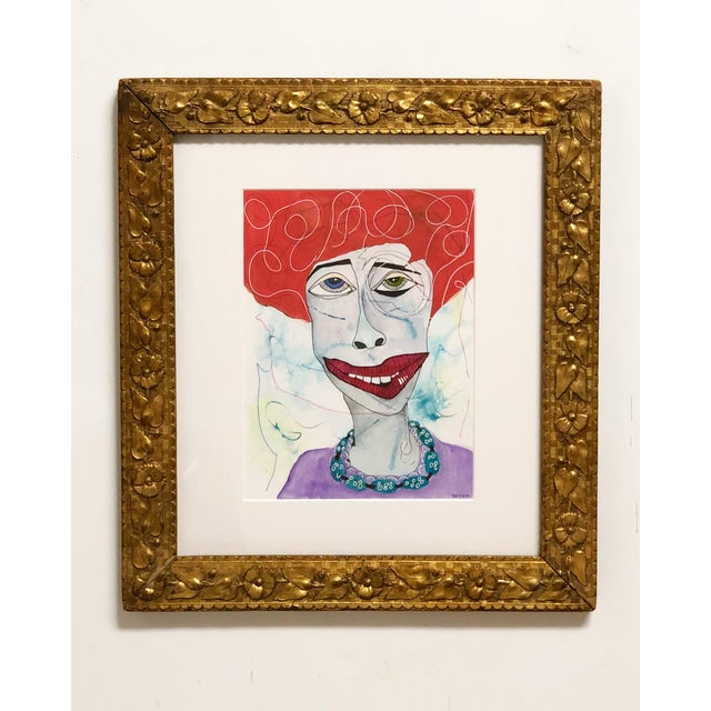 Glass Contemporary Folk Art Portrait Mixed-Media Painting by Robin Thompson, Framed For Sale - Image 7 of 7