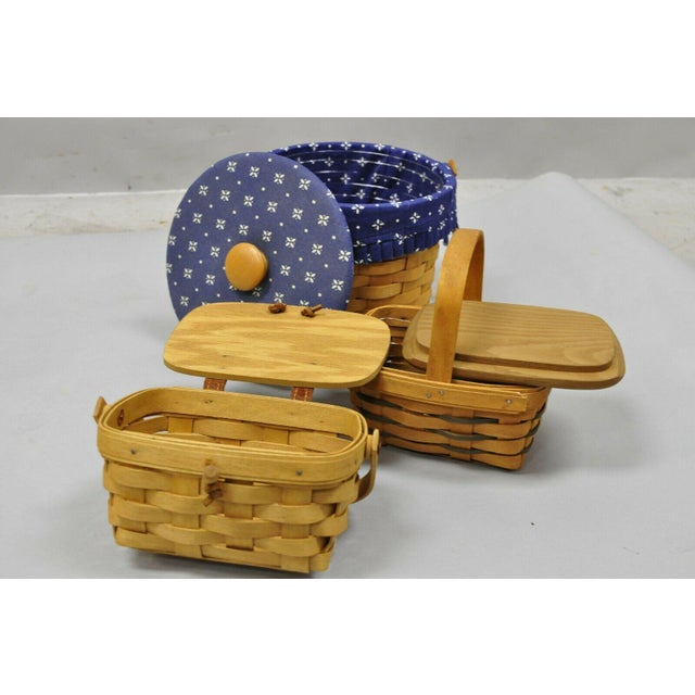 Early 20th Century Vintage 1990s Longaberger Basket Lot Wine Berry Wall Pocket Lid Round - 9 Pieces For Sale - Image 5 of 13