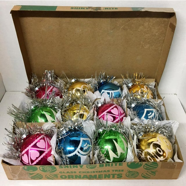 1960 S Vintage Shiny Brite Mica Mercury Glass Christmas Ornaments In Original Box Set Of 12