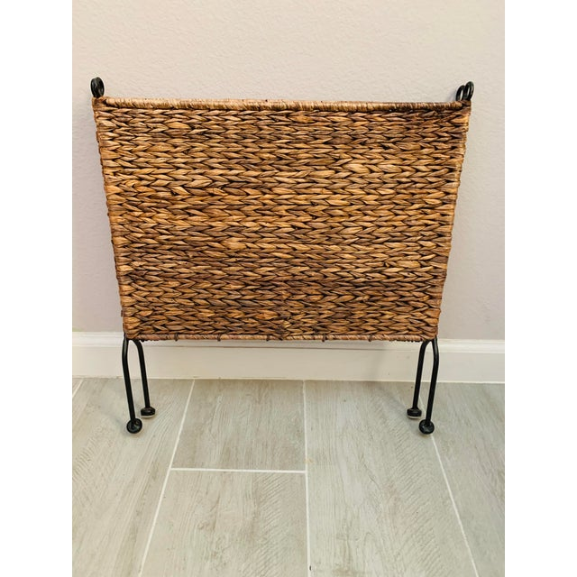 Iron and Wicker Magazine Rack Holder Vintage Mid Century Umanoff Style For Sale - Image 9 of 10