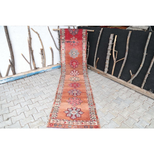 "Burnt Orange 1960's Vintage Turkish Hand-Knotted Long Runner Rug - 2'6"" X 13'8"" For Sale - Image 8 of 11"