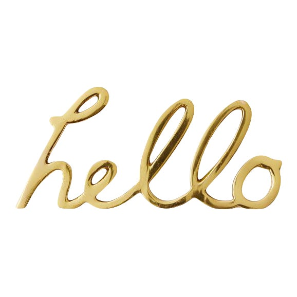 """Solid Brass Word Cursive Art """"Hello"""" For Sale"""