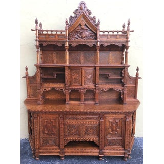 Antique Japanesse Hand-Carved Elmwood Cabinet, Sideboard, Meiji, 20th Century Preview
