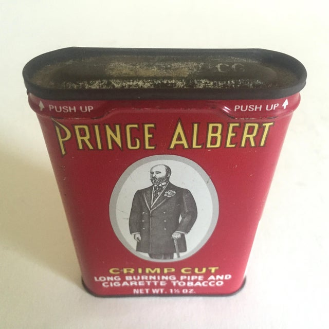 "Americana Vintage 1970's ""Prince Albert Crimp Cut"" Lithograph Tobacco Tin Oval Box For Sale - Image 3 of 11"