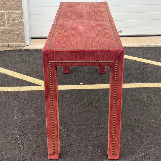 Ruby Red 1970s Distressed Velvet Nailhead Parsons Console Table For Sale - Image 8 of 13