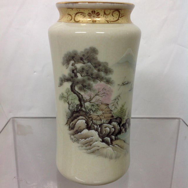 Japanese Arita Hand-Painted Porcelain Vase For Sale - Image 4 of 7