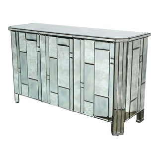 Modernist Pentagonal Form Mosaic Mirrored Cabinet with Ebonized Oak Interior For Sale