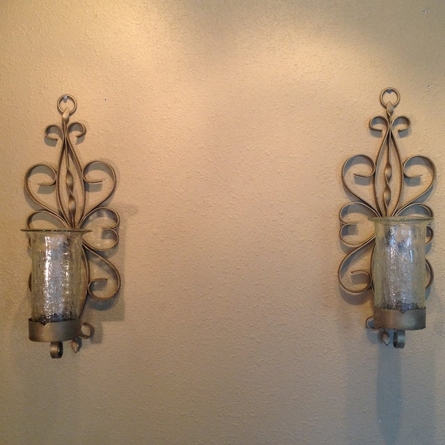 Gold Enameled Candle Sconces with Glass Shades - Image 2 of 5