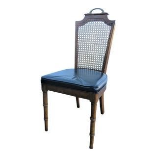 Mid 20th Century Regency Faux Bamboo Caned Side Chair For Sale