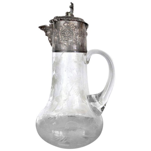 19th Century Sterling Cut and Etched Claret Jug For Sale - Image 11 of 11