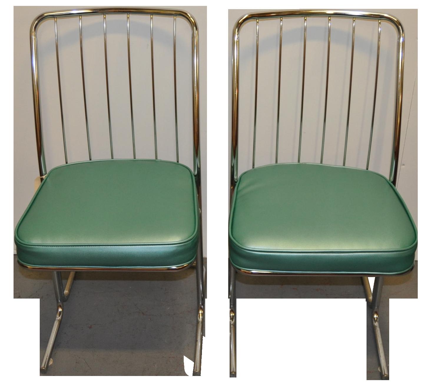 Kitchen Chairs Ireland: 1950s Chrome & Vinyl Kitchen Chairs - Set Of Four